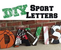 Sport Themed Wooden Letters : 4 Steps (with Pictures) - Instructables Wood Letters Decorated, Painting Wooden Letters, Painted Letters, Decorative Wooden Letters, Big Wooden Letters, Letters For Kids, Diy Letters, Letter A Crafts, Letter Art