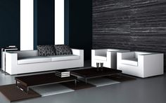 Modern Chic Living Room Design With Freestanding White Leather Living Room Furniture Sofa Sets Also Black Freestanding Centerpiece Tables As Well As  Plus, Modern Classy Home Interior Designs: Interior