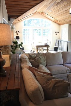 My Sweet Savannah Melaine's Lake House tour (8) Like the older planked look of the sofa table