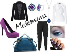 """""""Working out basic clothes!"""" by modaensuma on Polyvore. Essential pieces in our wardrobe: black pants, white blouse and a black blazer. When we go to work those three they become our life savers. This week I show you how accesories, heels and bags can work to re-style those basic clothes. You'll never look the same even if you wear them many times."""
