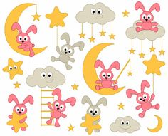 Sweet Dreams Cute Pink Bunnies Digital Clip Art - Good Night Bunnies Clipart - Moon, Stars - Instant Download