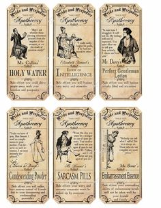 Pride And Prejudice Apothecary Label Stickers Scrapbooking Glossy Paper