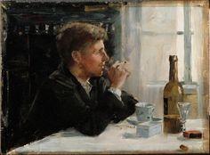 Danielson-Gambogi, Elin Pöydän ääressä istuva mies 1886.  Kansallisgalleria - Taidekokoelmat - Pöydän ääressä istuva mies
