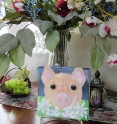 Blooming Pig Fused Glass Dish/Plate by JanuaryMayDesigns on Etsy