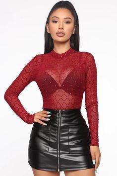 Look at me bodysuit – burgundy – fashion nova jeans outfits Body Suit Outfits, Hot Outfits, Fall Outfits, Fashion Outfits, Red Skirt Outfits, Red And Black Outfits, Casual Dresses, Casual Outfits, Lace Dresses