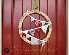 Casual fourth of july bunting wreath