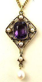 Gothic 10k Amethyst Lavalier / Pendant (item #1317614)