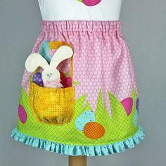 Easter t-shirt outfit toddler girl pattern plush BUNNY SKIRT on Etsy, $7.95