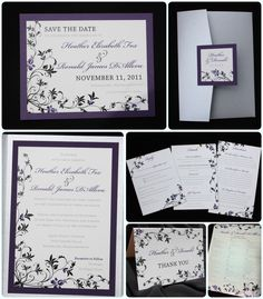 Dark Purple, Black & Silver Floral Pocketfold Wedding Invitations, Thank You Cards and Seating Chart
