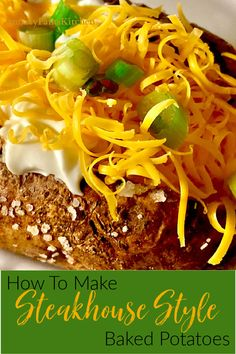 The secrets to making the best, restaurant-quality baked potato here! Tastes like the baked potatoes from your favorite steakhouse. Steakhouse baked potatoes in your own kitchen at anytime! Easy Recipes For Beginners, Cooking For Beginners, Cooking Tips, Best Baked Potato, Baked Potatoes, Pulled Pork, The Best, Easy Meals, Vegetarian
