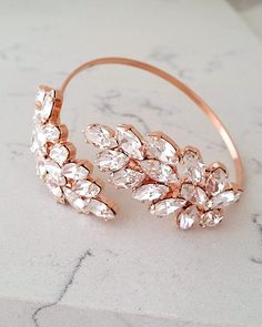 Rose gold bridal bracelet,Clear crystal bridal bracelet,Adjustable cuff bracelet,Bridemsids gift, Wedding jewelry, Gold cuff bracelet  | http://etsy.me/2tU6V4U
