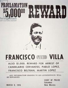 Pancho Villa Reward Notice, 1916 (litho)