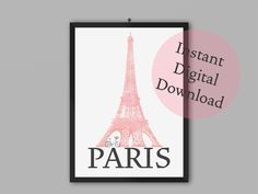 Paris Art Print   Bedroom, Living Room, Dorm Room Decor   Inspiring Travel Decor by TheArtPrintStudio on Etsy Paris Art, Office Art, Pink Watercolor, Dorm Room, Printable Art, Room Decor, Art Prints, Living Room, Bedroom