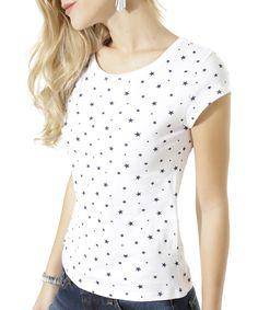 Blusa Estampada de Estrelas Branca - cea