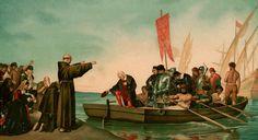 Salida de Cristóbal Colón y su gente desde el puerto de Palos. Puesto que la Tierra era redonda, intentaban llegar a Asia por el oeste, a través del océano Atlántico.