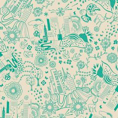 SALE - Art Gallery - Utopia Collection by Frances Newcombe - Urban Sprawl in Grass - Fat Quarter
