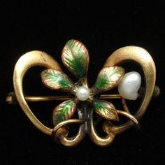 Victorian Pin Vintage Enamel Seed Pearls Lingerie Beauty