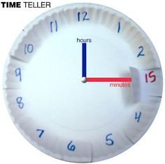 Time Teller--two paper plates with cut away windows to show the 15 minutes under the 3 for example.