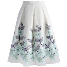 Chicwish Sylphlike Embroidered Organza Pleated Skirt ($47) ❤ liked on Polyvore featuring skirts, white, flower skirt, pleated skirt, knee length pleated skirt, white sheer skirt and sheer skirt