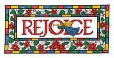 "Stained Glass Rejoice by Imaginating features an angel and the phrase ""rejoice"".  It's a cross stitch pattern that has a stained glass effec..."