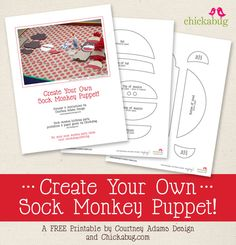 FREE printable sock monkey puppet template