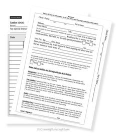 Free Printable Client Pet Information Forms For Dog Groomers
