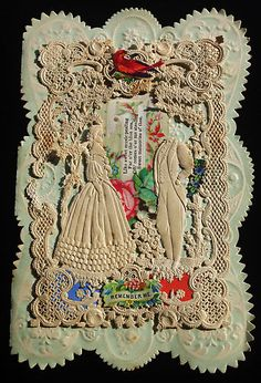 Antique 1879 Cut Out Victorian Lace Paper Valentine Card