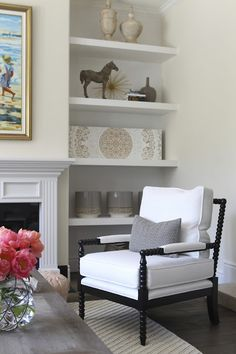 shelves beside fireplace