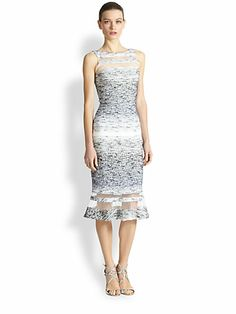 Badgley Mischka - Bouclé Illusion Panel Dress - Saks.com0409657570292 $475  - I like the illusion of the separate panels. And the fabric has a nice pattern to it. Maybe not enough white in it?