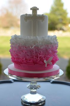 First Communion - First communion cake with ombre ruffles.