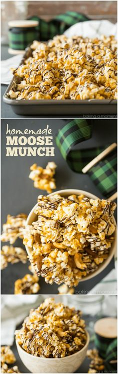 Homemade Moose Munch: Light, crisp butter toffee caramel popcorn with almonds and cashews, drizzled with white and dark chocolate. Makes a great holiday gift!  via @bakingamoment