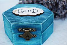 Rustic wedding box Personal Wooden box Wedding ring box Ring holder Keepsake box Tender ring box Ring pillow box Ring bearer box Blue box