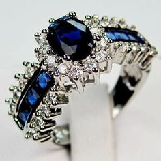 OMG, OMG, OMG ♥ --> Jewelry Bland new sapphire lady's 10KT white Gold Filled Ring