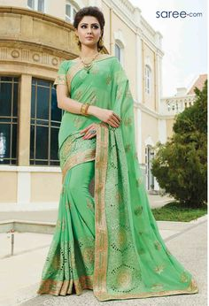 Lemon green saree with blouse. Work - Heavy embroidery work on saree and blouse. Paired with matching blouse piece. Designer Silk Sarees, Art Silk Sarees, Ethnic Wear Designer, Fashion Designer, Chanderi Silk Saree, Lehenga Choli, Saris, Wedding Sarees Online, Green Saree