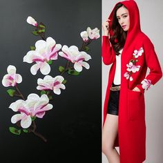 1Set Magnolia Flowers Patches Sew for Clothes Wedding Decoration Mariage Dress Applique Embroidery Patches Diy Accessory