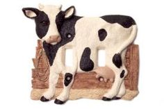 Vicki Lane Light Switch Decor Covers -Holstein Cow, double switch  Black & White