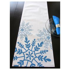 Tossed Snowflakes Table Runner  White/ Sapphire by celineandkate, $48.00