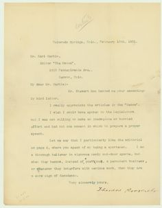 """Theodore Roosevelt, a """"thorough believer in vigorous manly out-door sports,"""" Warns of Sports Becoming """"a permanent business""""  $4,500"""
