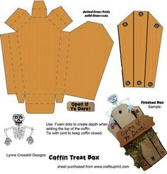 Halloween Coffin Treat Box on Craftsuprint designed by Lynne Crosskill - Scary Skeleton Coffin Treat Box will delight anyone. - Now available for download!