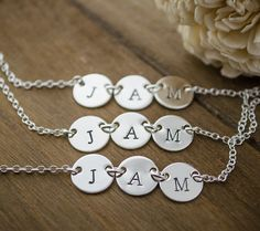 Set Of 3 Triple Tag Initial Necklaces In Sterling Silver Perfect For Best Friends