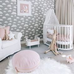 Nursery Design Tips . Nursery Design Tips . Scandinavian Design Baby Room Interior Baby Bed or Children Baby Bedroom, Baby Room Decor, Nursery Room, Girls Bedroom, Clouds Nursery, Teen Bedrooms, Master Bedroom, Gold Nursery, Girl Decor
