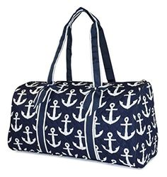 NGIL Quilted Travel Duffel Bag Nautical Anchor Print Navy White *** See this great product. (Note:Amazon affiliate link)