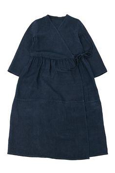 Antique indigo linen cache-coeur long dress/French