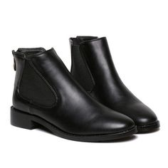 Black Square Toe PU Elastic Boots (46 CAD) ❤ liked on Polyvore featuring shoes, boots, black, pu boots, kohl boots, square toe shoes, flat shoes and elastic shoes