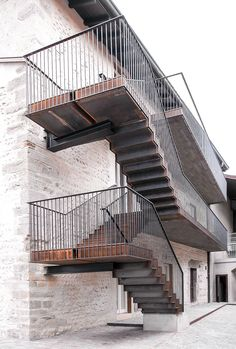 Image 11 of 20 from gallery of Monastery of San Giuliano Restoration / architetti. Photograph by Gianluca Gelmini Railing Design, Staircase Design, Deck Design, Stairs Architecture, Architecture Design, Architecture Awards, Staircase Outdoor, Outside Stairs, External Staircase