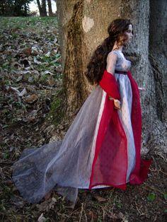 """Sunset Snowfall"" 1805 Regency Ball Gown and Shawl for Tonner Dolls - by Morgan May @ Stardust Dolls - http://www.stardustdolls.com"