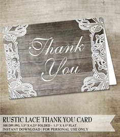 Rustic Thank You Card, Turquoise Lace, Rustic Wood, Vintage Thank ...