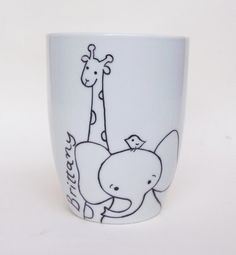 Giraffe and Elephant zoo friends hand painted white by PaintMyName, $30.00