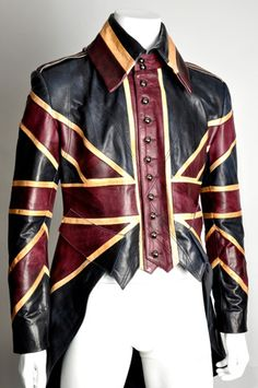 London's Impero Leather offers this fantastic tailed leather jacket, a steampunk answer to the postapocalyptic duster that the late Alexander McQueen designed for David Bowie in the 1990s