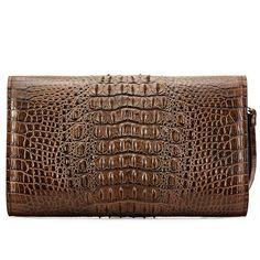 Men's Genuine Crocodile Wallet, Crocodile Envelope Flap Briefcase Purse Clutch Bag-Back Leather Handbags, Leather Wallet, Leather Bag, Alligator Wallet, Briefcase, Clutch Wallet, Fashion Handbags, Crocodile, Continental Wallet